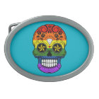 Customisable Gay Pride Rainbow Sugar Skull Oval Belt Buckle