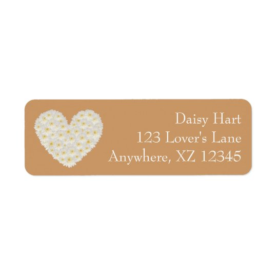 Customisable Gerber Daisy Heart Return Address Label