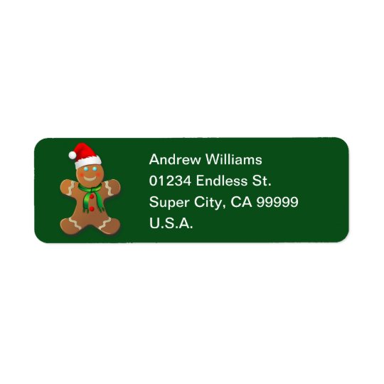 Customisable Gingerbread Cookie Return Address Label