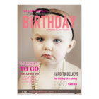 Customisable Girl's Birthday Invite Magazine Cover