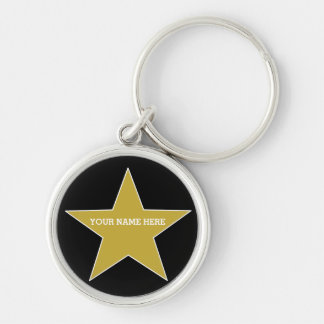 Customisable Gold Star Key Ring
