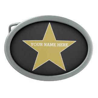 Customisable Gold Star Oval Belt Buckle