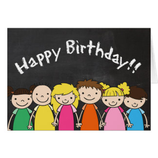 Customisable Happy Birthday with Chalkboard Kids Card