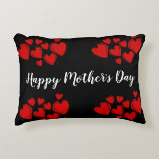Customisable Happy Mother's Day Black Decorative Cushion