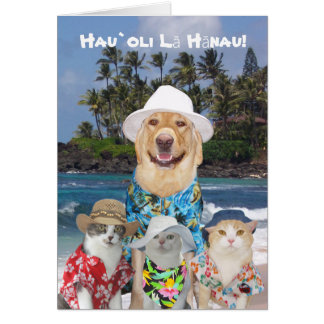 Customisable Hawaiian Yellow Lab & Kitties Birthda Card