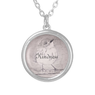 Customisable intention with bird silver plated necklace