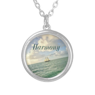 Customisable Intention with Sailboat Silver Plated Necklace