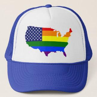 Customisable LGBT Pride America trucker hat. Trucker Hat