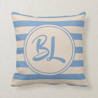 Customisable Light Blue and Beige Stripes Cushion