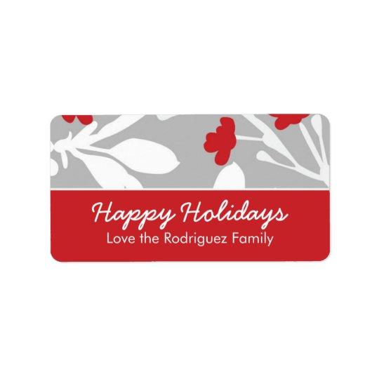 Customisable Modern Floral Holiday Label Address Label