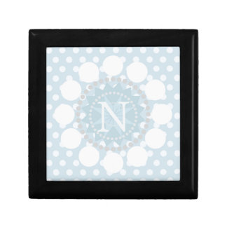 Customisable Monogram Blue Polka Dot/Circle Box