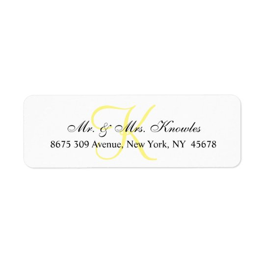 Customisable Monogram Chic Unique Personal Return Address Label