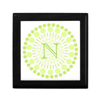 Customisable Monogram Lime Green Circle Box