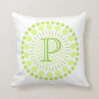 Customisable Monogram Lime Green Circles Cushion