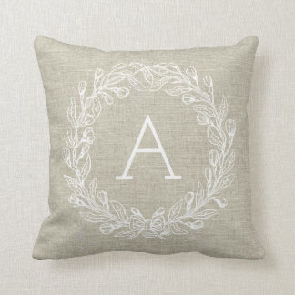 Customisable Monogram Pillow - White Wreath