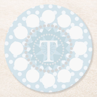 Customisable Monogram Polka/Circles Card Coaster