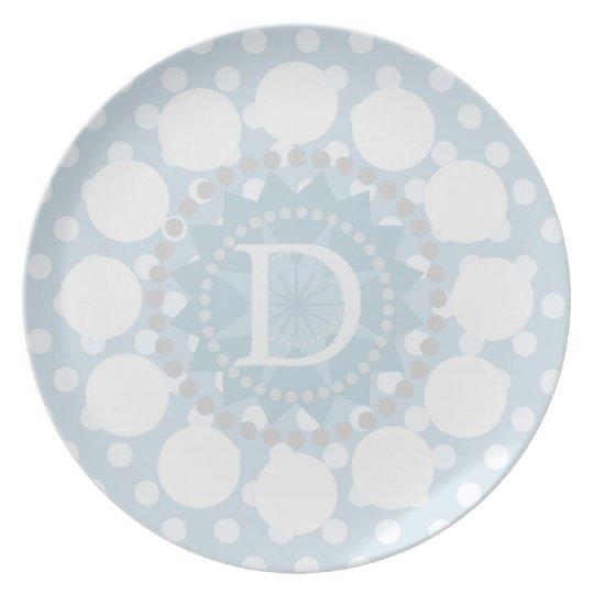 Customisable Monogram Polka Dot Melamine Plate