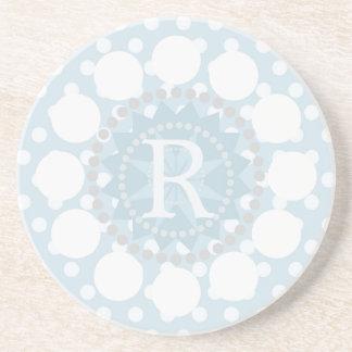 Customisable Monogram Polka Dot Sandstone Coaster