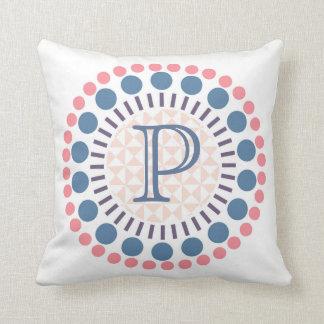 Customisable Monogram Red & Blue Circles Cushion
