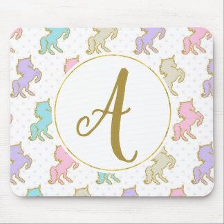 Customisable Monogram Unicorn Mouse Pad