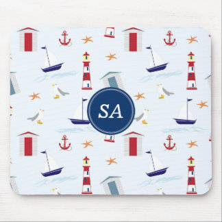 Customisable Monogrammed Nautical Back to School Mouse Pad