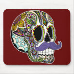 Customisable Moustache Sugar Skull Mousepad