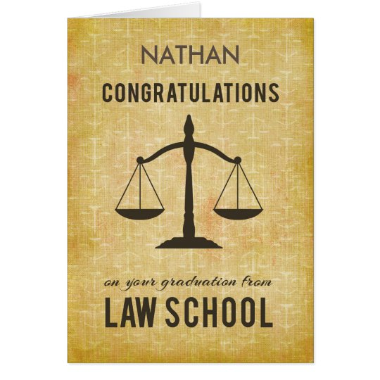 Customisable Name, Law School Graduation Congratul Card