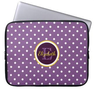 Customisable Name & Monogram Purple Polka Dots Laptop Sleeve