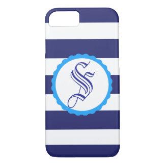 Customisable Nautical Blue Striped iPhone Case