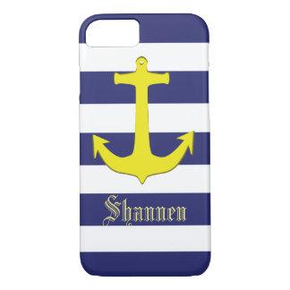 Customisable Nautical Yellow Anchor iPhone Case
