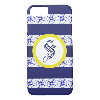 Customisable Nauticle Blue Compass iPhone Case