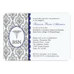 Customisable Nurse Graduation BSN RN blue damask Personalised Invite