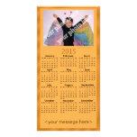 Customisable Photo 2015 Calendar Card Orange Photo Cards