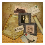 Customisable Photo Frame Vintage Map Paper Collage Poster