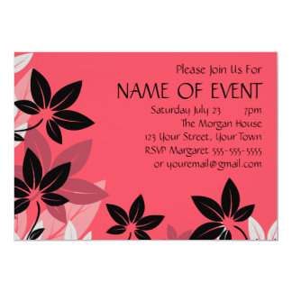 Customisable Pink and Black Floral Card