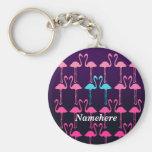 Customisable: Pink flamingo Basic Round Button Key Ring