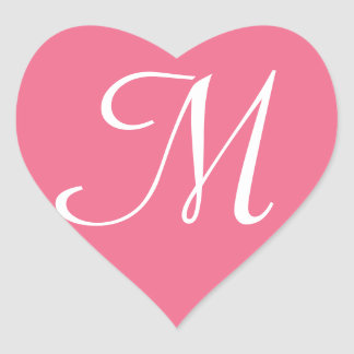 Customisable Pink Heart Sticker Monogram