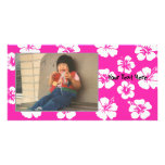 Customisable Pink Hibiscus Photocard Customised Photo Card