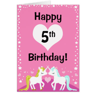 Customisable Pink Magical Unicorn Birthday card