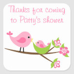 Customisable pink Mum and baby bird square sticker