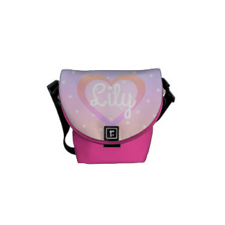 Customisable Pink Polka Dot Mini-Messenger Bag Courier Bags