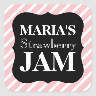 Customisable Pink Striped Homemade Jam Jar Label