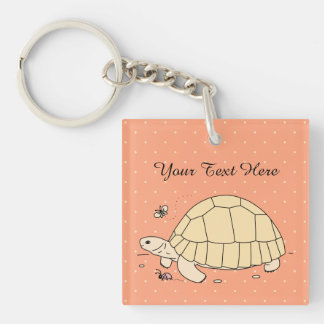 Customisable Ploughshare Tortoise Keychain