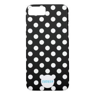Customisable Polka Dots Black iPhone 7 Case