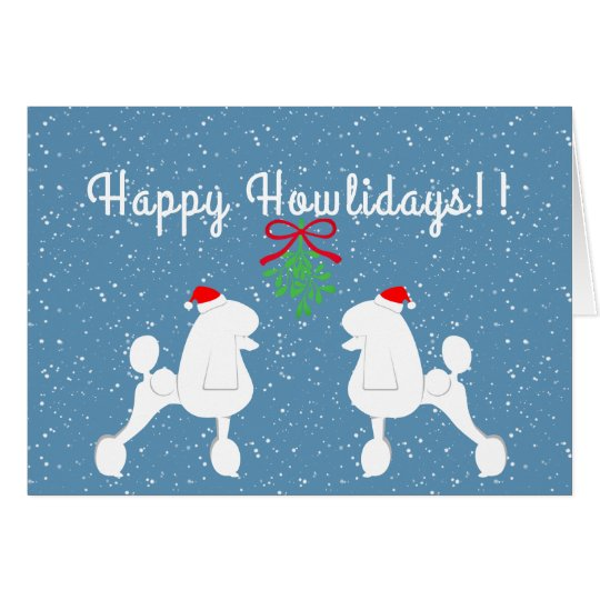 Customisable Poodle Holiday Card (Continental Cut)