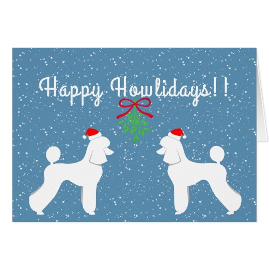 Customisable Poodle Holiday Card (Puppy Cut)