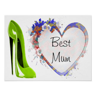 Customisable Poster with Lime Green Stiletto Shoe