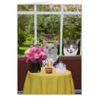 Customisable Pretty Cat Female Photobomb Birthday Card