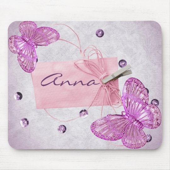 Customisable Pretty Pink Butterfly Design Mouse Pad