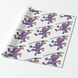 Customisable Purple Jumping Ninja Wrapping Paper